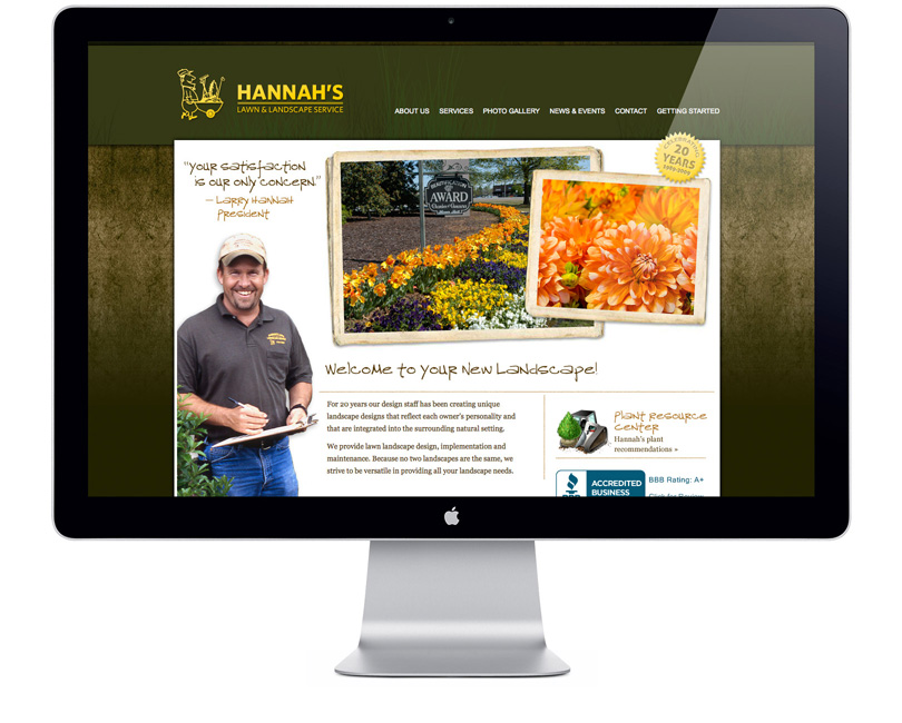 Screenshot of HannahsLandscaping.com home page
