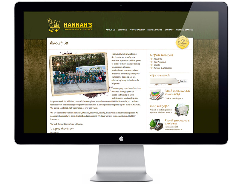 Screenshot of HannahsLandscaping.com about page
