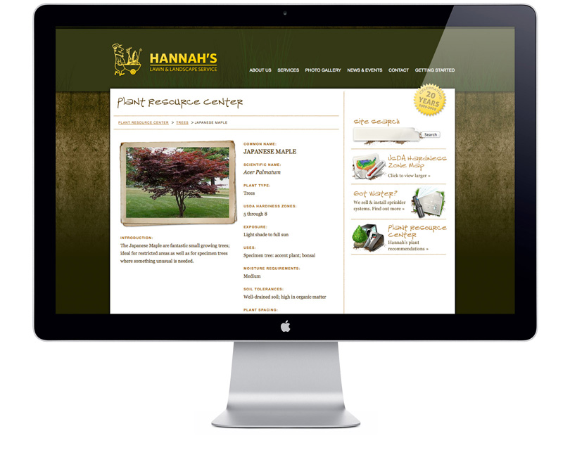 Screenshot of HannahsLandscaping.com plant resource page