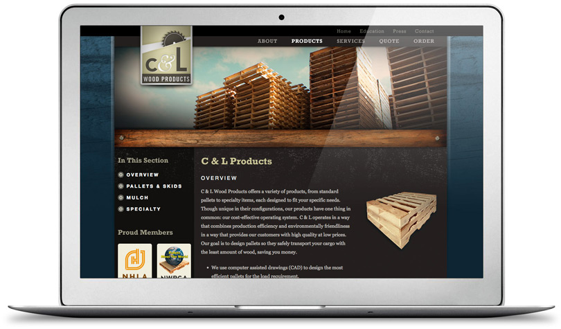 CLWoodProducts.com product page