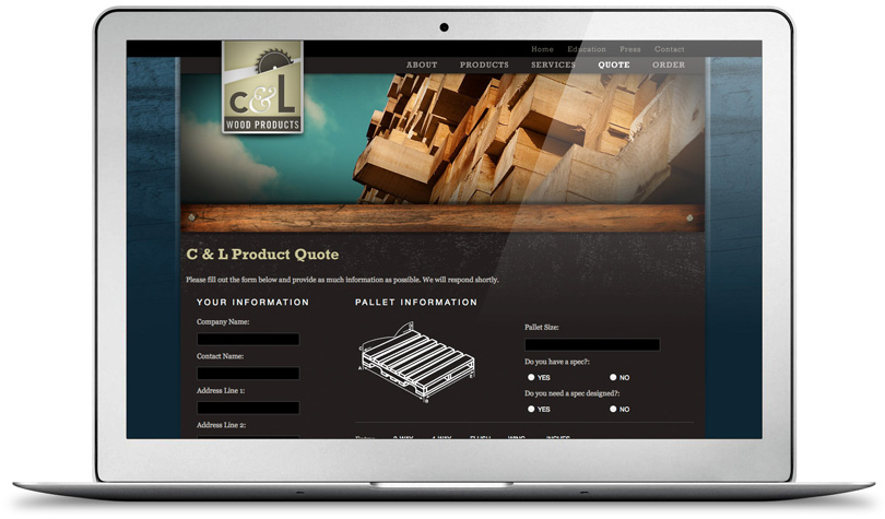 CLWoodProducts.com quote page