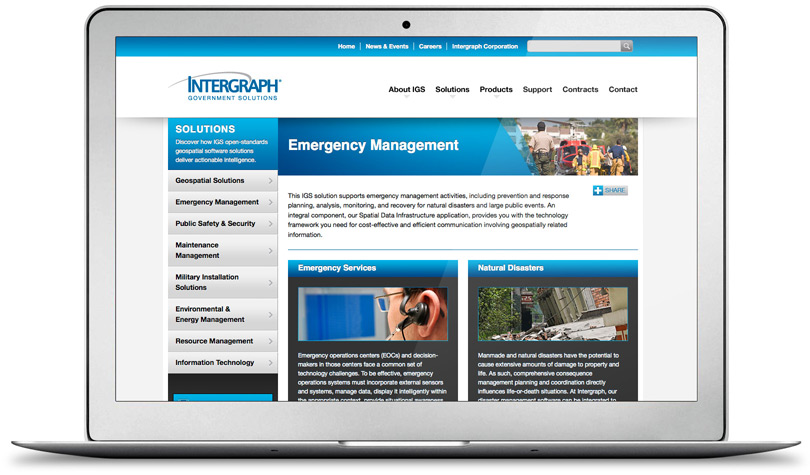 IntergraphGovSolutions.com solution section page