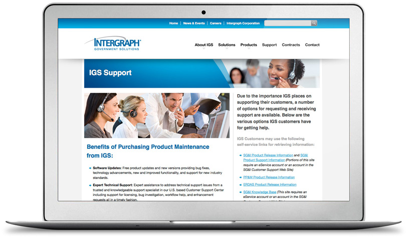 IntergraphGovSolutions.com support page